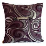 Retro paisley deisgn woven satin fabric cushion cover in metallic grey and purple 45cm