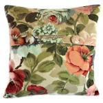 Vintage Sanderson Albury cotton sateen fabric cushion cover with fabric covered button fastening 35cm