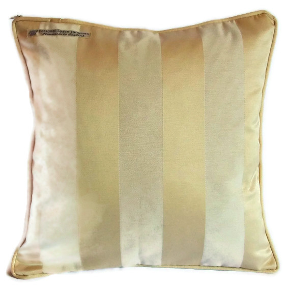 Luxury heavy woven satin stripe cushion cover in champagne cream with piped edging 40cm