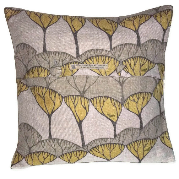 Villa Nova Lorton luxury contemporary fabric cushion cover with fabric covered button fastening 45cm