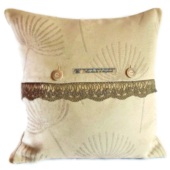 John Lewis Corey linen and lace cushion cover with button fastening 40cm