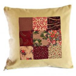 Vintage style patchwork panel cushion cover in pinks and burgundy with zip fastening 35cm