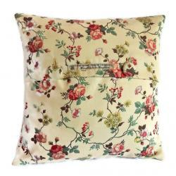 Vintage style rosbud print cotton sateen cushion cover with fabric covered button fastening 35cm