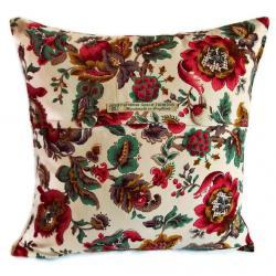 Vintage 1950s light cotton bright floral cushion cover with fabric covered button fastening 40cm